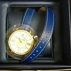 Swarovski Blue Double Strap Watch